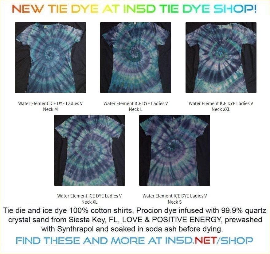 NEW Ladies V Neck WATER ELEMENT Quantum Tie Dye Shirts!