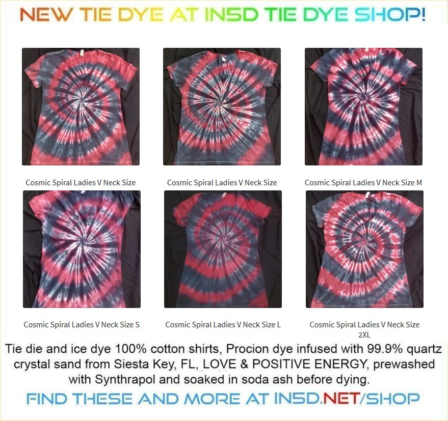 NEW Ladies Fitted V Neck Cosmic Spiral Quantum Tie Dye T Shirts.
