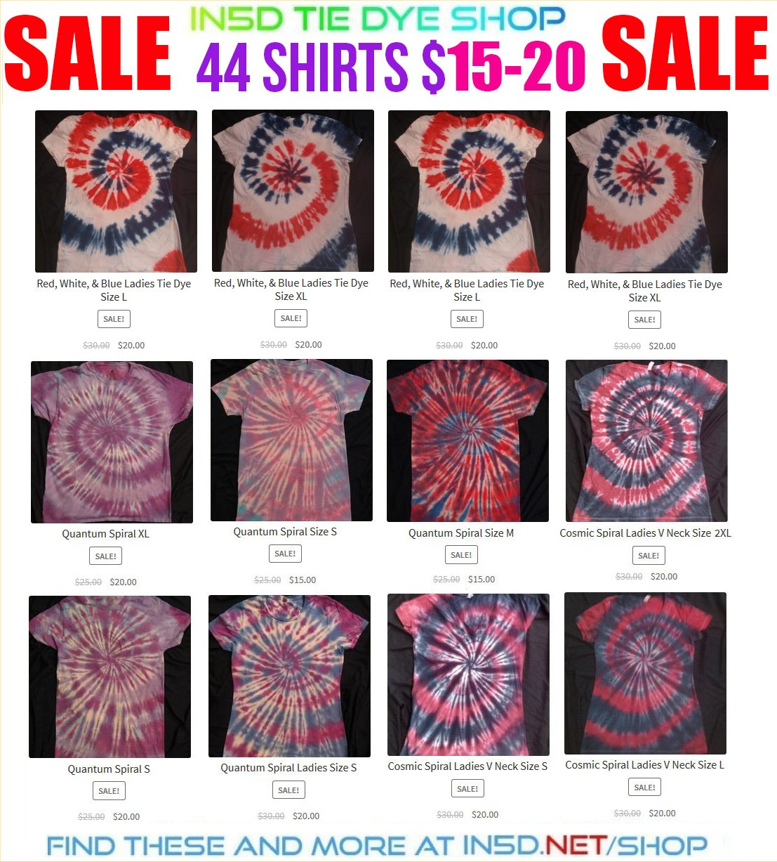 HOLIDAY SALE! 44 In5D QUANTUM TIE DYE SHIRTS $15-20 EACH!!!