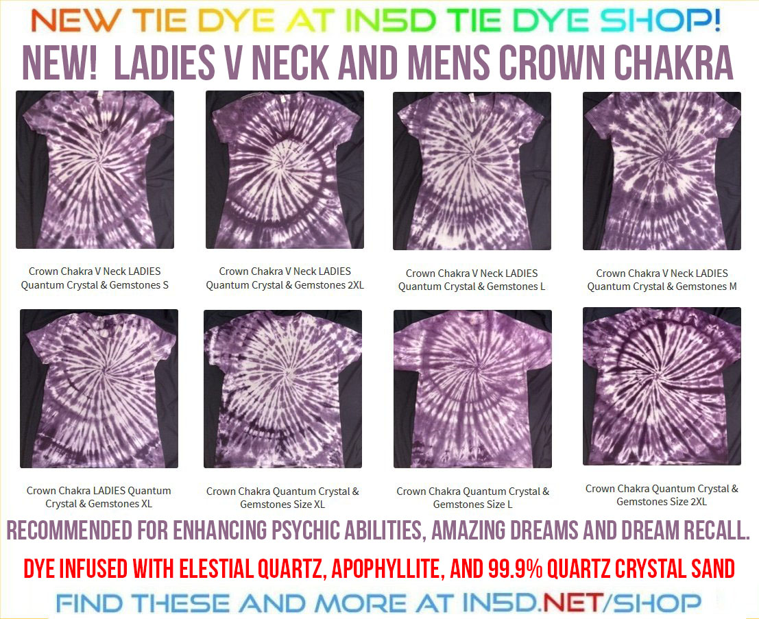 NEW Mens and Ladies V Neck Crown Chakra Quantum Tie Dye Shirts