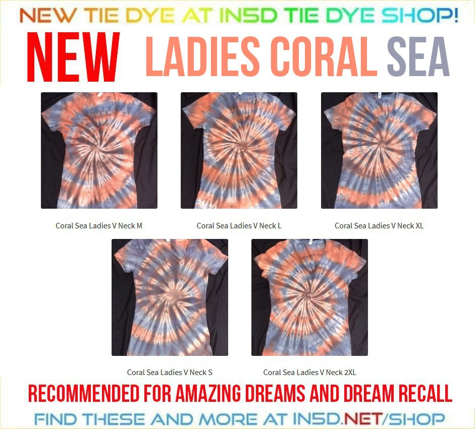 NEW Ladies Coral Sea V Neck Quantum Tie Dye T Shirts!