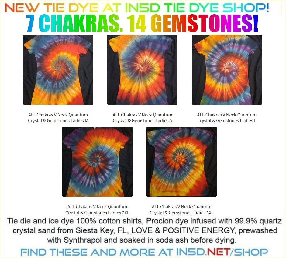 NEW 7 Chakra Quantum Crystal & Gemstones Tie Dye Shirts